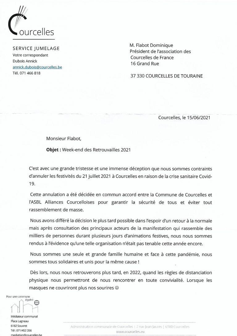 Read more about the article Annulation des festivités du 21 juillet à Courcelles de Belgique